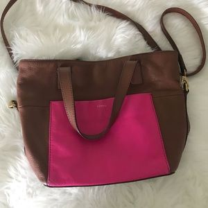 Fossil leather crossbody tote pink brown